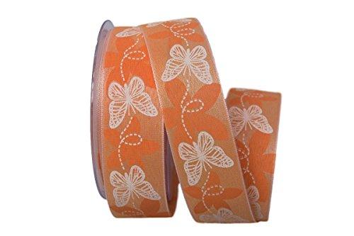 Christa-Bänder Motivband Schmetterling orange ohne Draht 40mm