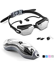 Unisun Swimming Goggles Adult No Leaking Adjustable Junior Swimming Goggle with Earplugs Nose Clip Clear Anti fog Swim Goggle for Men Women Children Kids 6+ Black Blue Pink Gray
