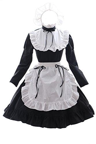 Maid schwarz Zimmermädchen Zofe Gothic Lolita Kleid Kostüm dress Cosplay (EUR Gr. M) (Gothic Maid Kleid)