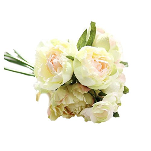 meisijia Künstliche Pfingstrose Seidenblumen 8 Köpfe / Strauß milchgrün (Strauß Seidenblumen)