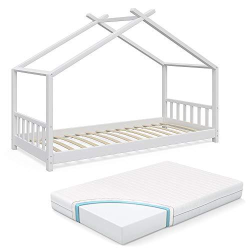 VitaliSpa Kinderbett Hausbett Design 90x2000cm Weiß Kinder Bett Holz Haus Schlafen Hausbett Spielbett Inkl. Lattenrost und 7-Zonen Kaltschaum Matratze