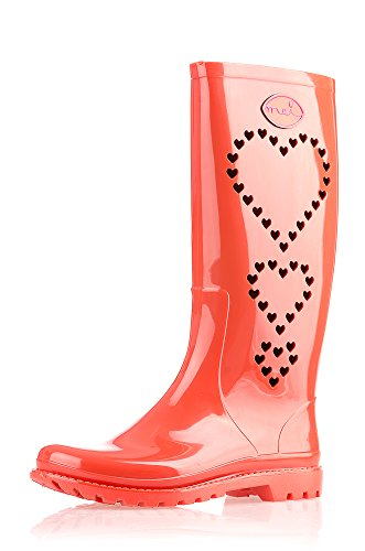 Mei 3 Hearts Perforated Ladies Wellies Wellington Rain Boots