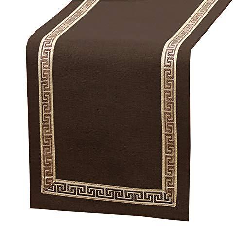 Wge marrone runner, rettangolo tovaglia, pranzo agriturismo tavolo decor, cotone e lino (size : 33×260cm/12.9×102inch)