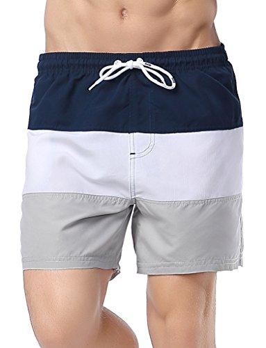 d4daedeb6b82a Gfirmament Herren Sommerhosen Strandshorts Kurz Bademode für Herren Taschen  Netzfutter Badehose Black+White+Gray
