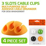 Multipurpose Cable Management Holder Clips Organiser with Double Tape - Set of 4 Clips
