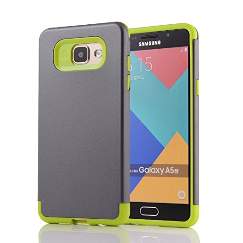 YHUISEN Galaxy A5 2016 Case, 2 In 1 PC + TPU Rüstung Hybrid Dual Layer Schutz Schock Absorption Hard Back Cover Case für Samsung Galaxy A5 2016 A510 ( Color : Black ) Gray Green