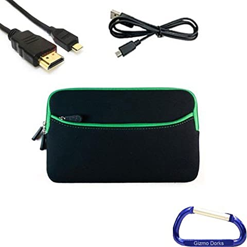 Gizmo Dorks Soft Neoprene Zipper Case (Black with Green Trim), Micro USB Cable, and HDMI Cable with Carabiner Key Chain for the Acer Iconia Tab A100