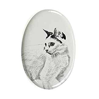 ArtDog Ltd. Japanese Bobtail Cat, oval gravestone from ceramic tile with an image of a cat 41BkyZ d3JL