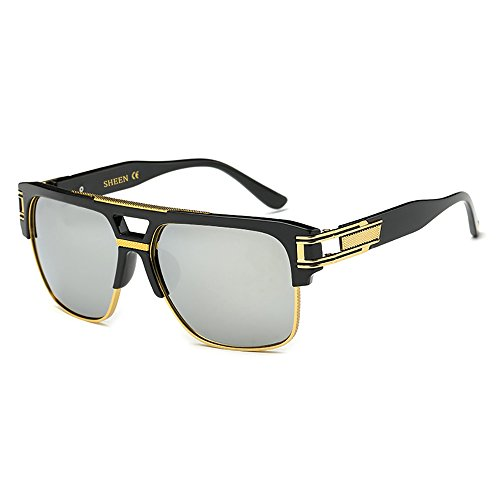 c3e396f1713b99 SHEEN KELLY Retro Oversized Sonnenbrille Metall Rahmen großen brille Square  - Spiegel herren damen Eyewear hälfte