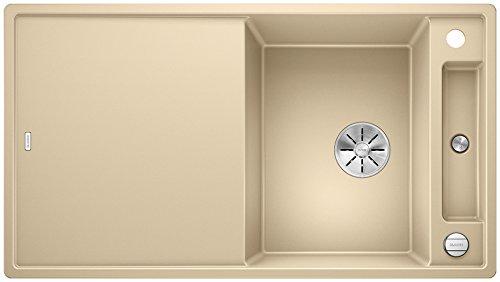 Blanco Axia III 5 S, Küchenspüle aus Silgranit PuraDur, reversibel, Champagner / mit InFino-Ablaufsystem, inklusive Glas-Schneidbrett und Ablauffernbedienung; 523221