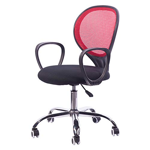 JH Gaming Stuhl Computerstuhl Bürostuhl Schreibtischstuhl Drehstuhl Höhenverstellbarer Ergonomisches Design Niedriger Rückenlehne Stuhl mit Stoffbezug Atmungsaktives Meshgewebe, Rojo