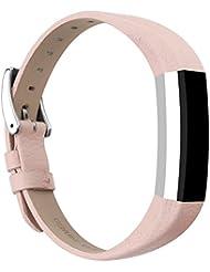 Bracelet en cuir Vancle pour Fitbit Alta, Bracelet de Remplacement Fitbit Alta réglable et confortable avec boucle en acier inoxydable (Sans Traqueur)