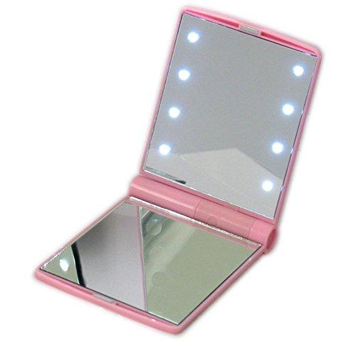 Make-up-Taschenspiegel mit 8 LED-Licht für Lady Pink Pocket Mini LED Make-up Spiegel...