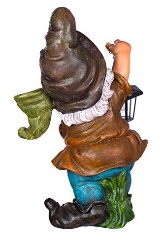 RIESIGER Zwerg, Gartenzwerg XXL Gartenwichtel mit Solarlampe NF11068-3D , Groß 60 cm hoch , Gartenfigur, Deko Zwerg, Wichtel mit LED Solar Lampe, schön und aufwendig gearbeitet, Dekorationsfigur für Innen und Außen, Polyresin , Gartendekoration, Gartenfigur, Skulptur, Windlicht - 2