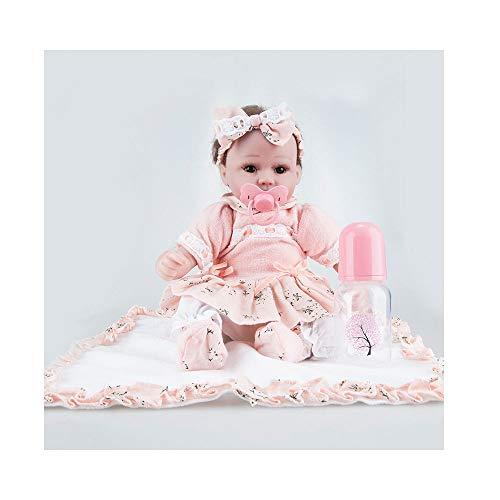 Mädchen Kostüm Marionetten - ADATEN Lovely Reborn Baby Puppen Pflege Puppe Handarbeit 45 cm Höhe Tuch Körper Weich Silikon Lebensecht Aufwachsen Partner Mit Schön Kostüm Mädchen Junge