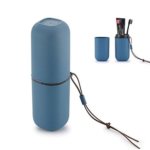 Daren&kiwi tazza spazzolino da viaggio, spazzolino dentifricio che titola l'acqua lavaggio coppa gargarismo la guaina di tazze con corda appesa per la casa da bagno viaggio campeggio (blu navy)