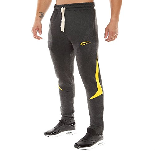 SMILODOX Slim Fit Herren Jogginghose 'Dimension 2.0' | Trainingshose für Sport Fitness Gym | Sporthose - Jogger Pants - Sweatpants Hosen - Freizeithose Lang Anthrazit/Gelb