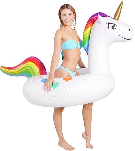 Set con unicorno gonfiabile gigante per piscina con mini portabibite galleggiante e borsa di chiusura (210cm x 115cm x 90cm) feste in piscina per adulti e bambini