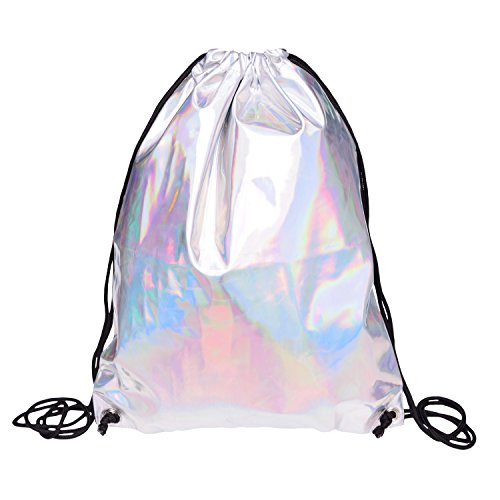 Fringoo ® Mens Womens Holographic Drawstring Bag Silver Leather Gym Bag Hologram Festival Shoulder String Backpack School PE Holo Fashion Hand Luggage (H43 x L35 cm, Holographic - Drawstring)