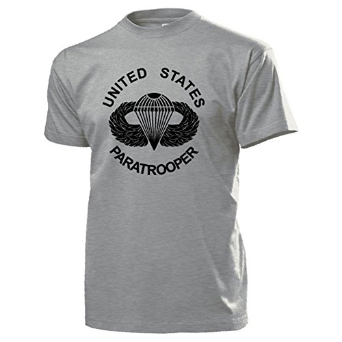 United States Paratrooper Airborne US Army Fallschirmjäger Wappen Abzeichen Logo Veteran Normandie - T Shirt #17857 (Logo T-shirt Grau Army)