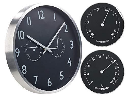 St. Leonhard Funkuhren: 3in1-Funk-Wanduhr mit Thermometer & Hygrometer, aus Aluminium, Ø 30cm (Wetterstationen)