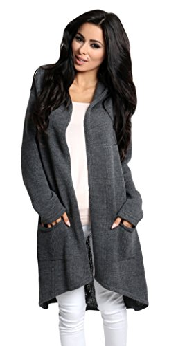 Lsecret  Damen Strickjacke Cardigan Pullover Kapuze 36 38 40 (Graphit)
