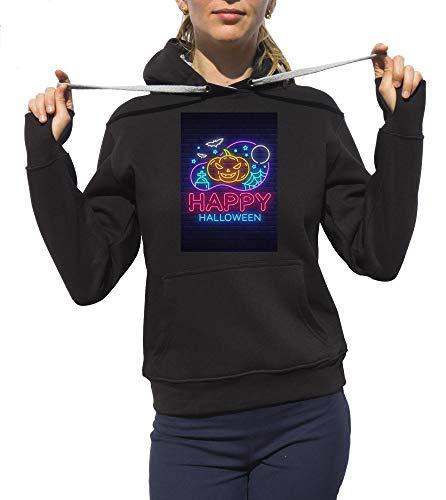 Hoodie Monster Scary Frightening Design Halloween Party Hoodie Schwarz Medium ()