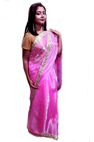 Kautuki Fashions Women's Tissue Saree (SAPAd_Pink_FreeSize)