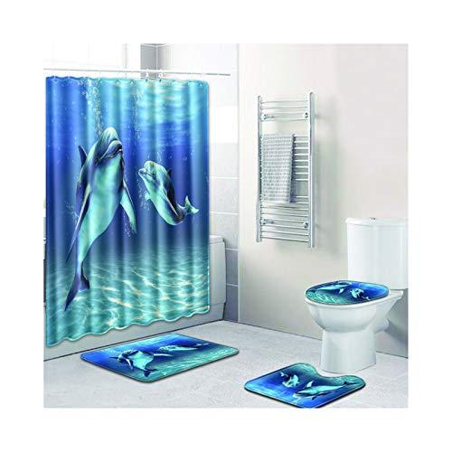 MaxAst Bad Vorhang Duschvorleger Set Delphin Blau Duschvorhang 180X180 Anti Schimmel Waschbar Badematte 4Teilig Set 50x80 (Blau Duschvorhang Set)