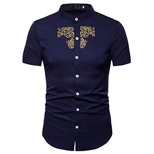 Sommer Kurze Ärmel Taste Bluse Casual Volltonfarbe Stickerei Tops Hemd(Medium,Marine) ()