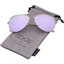 SojoS Gafas De Sol Para Hombres Y Mujeres Aviador Clásico Marco Metal Lentes Espejo Polarizadas SJ1054