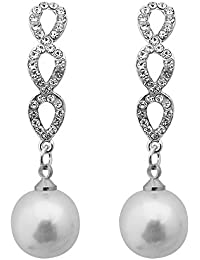 JewelMaze Austrian Stone Silver Plated Pearl Dangler Earrings-1313606B