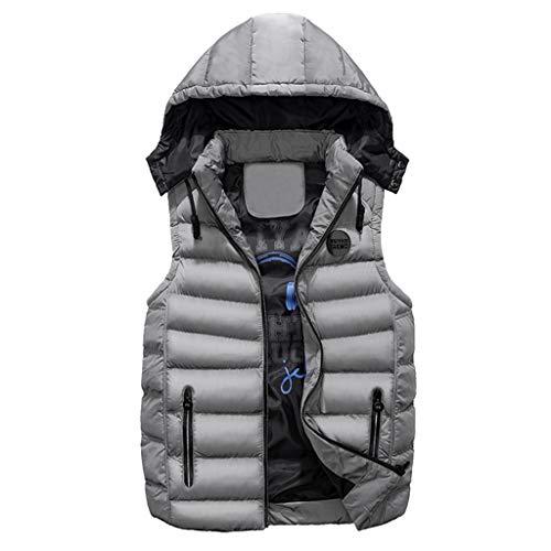 Gilet da uomo invernale, rcool giacca uomo caldo cappotto senza maniche giaccone piumino doppia faccia indossare cappotti con cappuccio casuale veste giubbotto pesante,