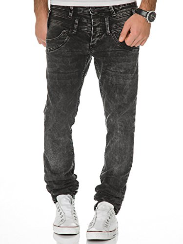 Jeans Herren Hose Denim Slim Fit Chino Used-Look Doppelbund Schwarz