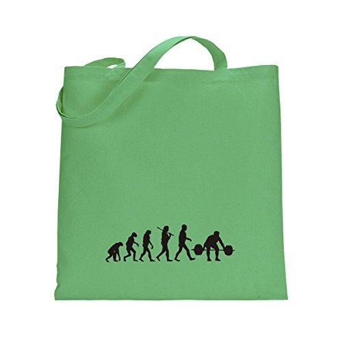 Shirtfun24 Baumwolltasche EVOLUTION BODYBUILDING Kraftsport, bottle (grün) kiwi grün
