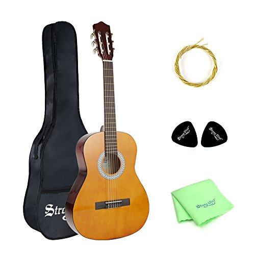 Strong Wind guitarra clásica acústica 3/4 tamaño36 pulgadas cuerdas de nylon para principiantes con kti de funda, púas, cuerdas extras y paño de limpieza