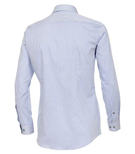 Venti Body Fit Hemd Super Langer Arm Streifen Blau AL 72 Mittelblau - uni (100)