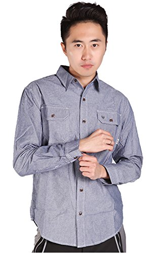 ikrr Herren Baumwolle Long Sleeve Button-Down Shirt Quick Dry denim-blau