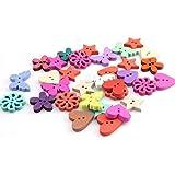 150pcs Assortiti ColoratoGrafico Cucire-on Bottoni Flatback di Legno Misti DIY