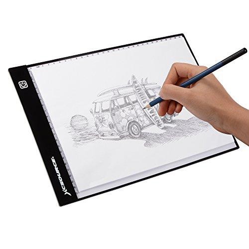 XCSOURCE Ultra dünnes DIN A4 große LED Licht-Box Künstler Zeichner Zeichentablett Durchpausen Drawing Board Schreibtafel Tattoo Kopieren Table Pad mit einstellbarer Helligkeit XC701