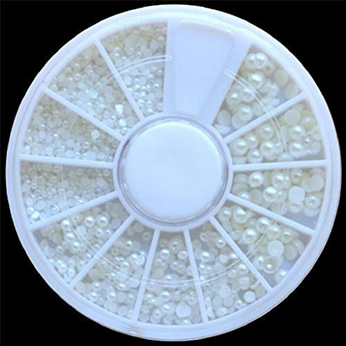 QUICKLYLY Uñas/Manicura-White Pearl Nail Art Stone Diferente Tamaño Rueda Rhinestones Uñas Cuentas...