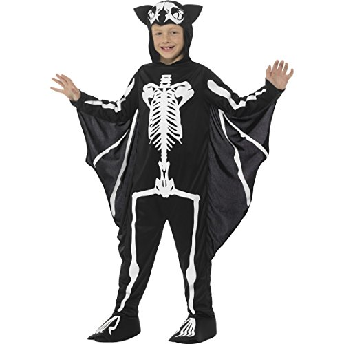 Amakando Kinderkostüm Skelett - L, 10 - 12 Jahre, 145 - 158 cm - Kinderkostüm Fledermausskelett Skelettkostüm Jungen Halloween Verkleidung Vampir Halloweenkostüm Blutsauger Fledermaus Kostüm Kind