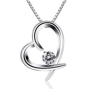 B.Catcher Herz Kette Damen Halskette 925 Sterling Silber Lebhaft Herz Schmuck 45CM Kettenlänge Geschenk für Damen/Frau/Freundin/Tochter