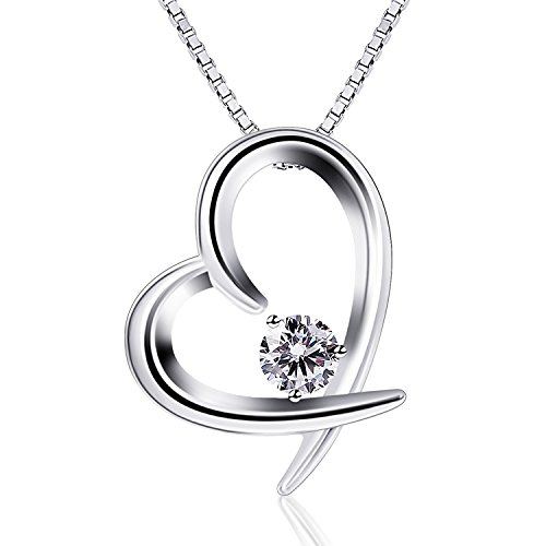 B.Catcher Women Jewelry 925 Sterling Silver Cubic Zirconia Love Heart Pendant Necklace