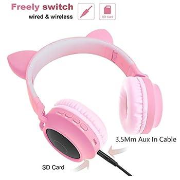Cuffie Bluetooth per bambini Cuffie orecchio gatto con luce led lampeggiante (rosa)