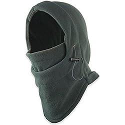 Forro pasamontañas polar LU2000multiusos, resistente al viento, tapa cara y cuello, capucha cálida, para deportes de invierno al aire libre, máscara CS, capucha táctica, gris