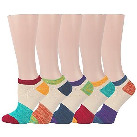 RioRiva Socquette Femme Fille Chaussette Basse Décontracté à Rayures Coton Peigné chaussettes de sport femme (EU Size 35.5-40/ UK 3-7, WSK101-Patchwork)