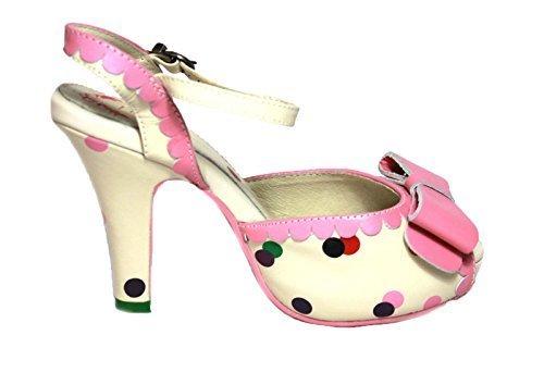 LOLA RAMONA scarpa donna aperta 100% pelle avorio con pois multicolor (37 IT DONNA)