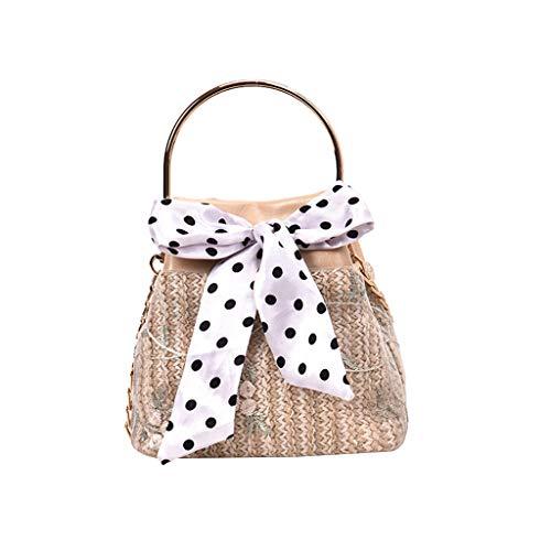 VNEIRW Stroh Strand Tasche Beuteltasche Frau Handtasche Umhängetasche mit Kette und Dot Drucken Schal Crossbody Deluxe Paket Urlaub Schulter Mode Tasche