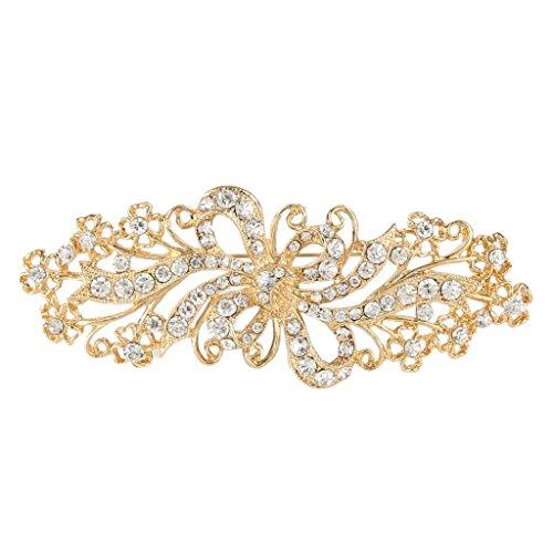 EVER FAITH® österreichischen Kristall Hochzeit Bogen Ribbon Brosche Gold-Ton klar N02465-2
